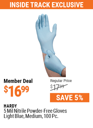 5 mil Nitrile Powder-Free Gloves, 100 Pc., Medium, Light Blue