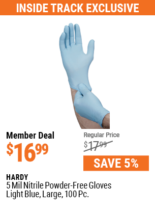 5 mil Nitrile Powder-Free Gloves, 100 Pc., Large, Light Blue