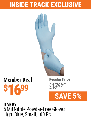 5 mil Nitrile Powder-Free Gloves, 100 Pc., Small, Light Blue