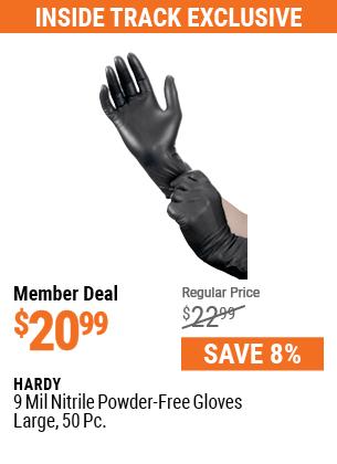 9 mil Nitrile Powder-Free Gloves Large, 50 Pc.