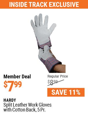 Split Leather Work Gloves with Cotton Back, 5 Pr.