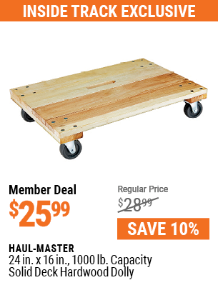 24 in. x 16 in. 1000 lb. Capacity Solid Deck Hardwood Dolly