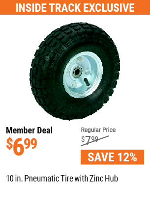 10 in. Pneumatic Tire with Zinc Hub