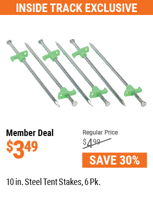 10 In. Steel Tent Stakes, 6 Pk.