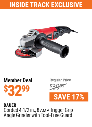 Corded 4-1/2 in. 8 Amp Trigger Grip Angle Grinder with Tool-Free Guard