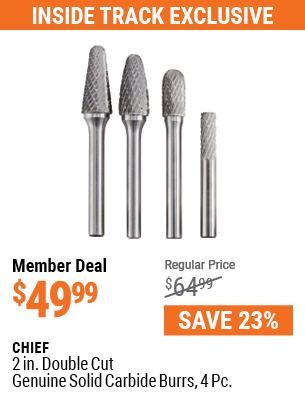 2 in.  Double Cut Genuine Solid Carbide Burrs, 4 Pc.