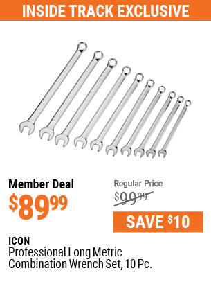 Professional Long Metric Combination Wrench Set, 10  Pc.