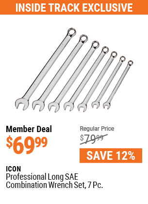 Professional Long SAE Combination Wrench Set, 7 Pc.