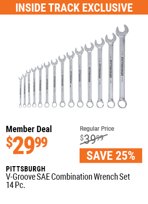 V-Groove SAE Combination Wrench Set, 14 Pc.
