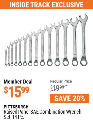 Raised Panel SAE Combination Wrench Set, 14 Pc.