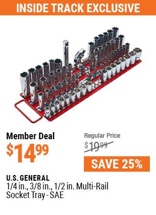 1/4 in., 3/8 in., 1/2 in. Multi-Rail Socket Tray - SAE