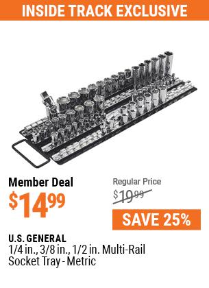 1/4 in., 3/8 in., 1/2 in. Multi-Rail Socket Tray - Metric