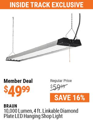 10,000 Lumen 4 Ft. Linkable Diamond Plate LED Hanging Shop Light