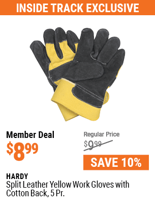 Split Leather Yellow Work Gloves with Cotton Back, 5 Pr.