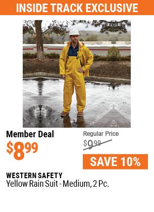 Yellow Rain Suit, Medium, 2 Pc.