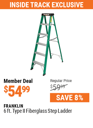 6 Ft. Type II Fiberglass Step Ladder