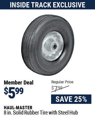 8 in. Solid Rubber Tire with Steel Hub