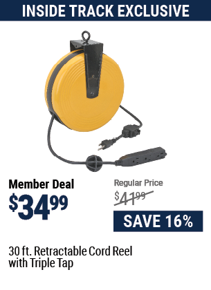 30 ft. Retractable Cord Reel with Triple Tap