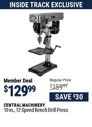10 in. 12 Speed Bench Drill Press