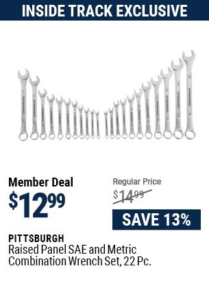Raised Panel SAE & Metric Combination Wrench Set, 22 Pc.