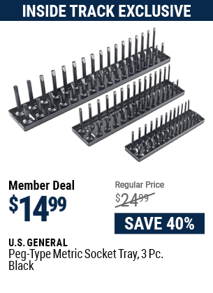 Peg-Type Metric Socket Tray, 3 Pc., Black