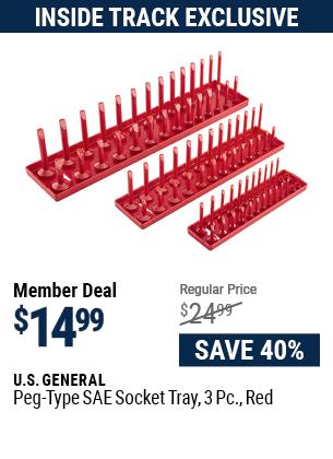 Peg-Type SAE Socket Tray, 3 Pc., Red