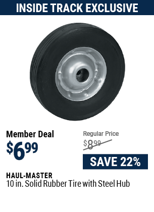 10 in. Solid Rubber Tire with Steel Hub