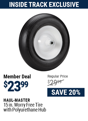 15 in. Worry Free Tire with Polyurethane Hub