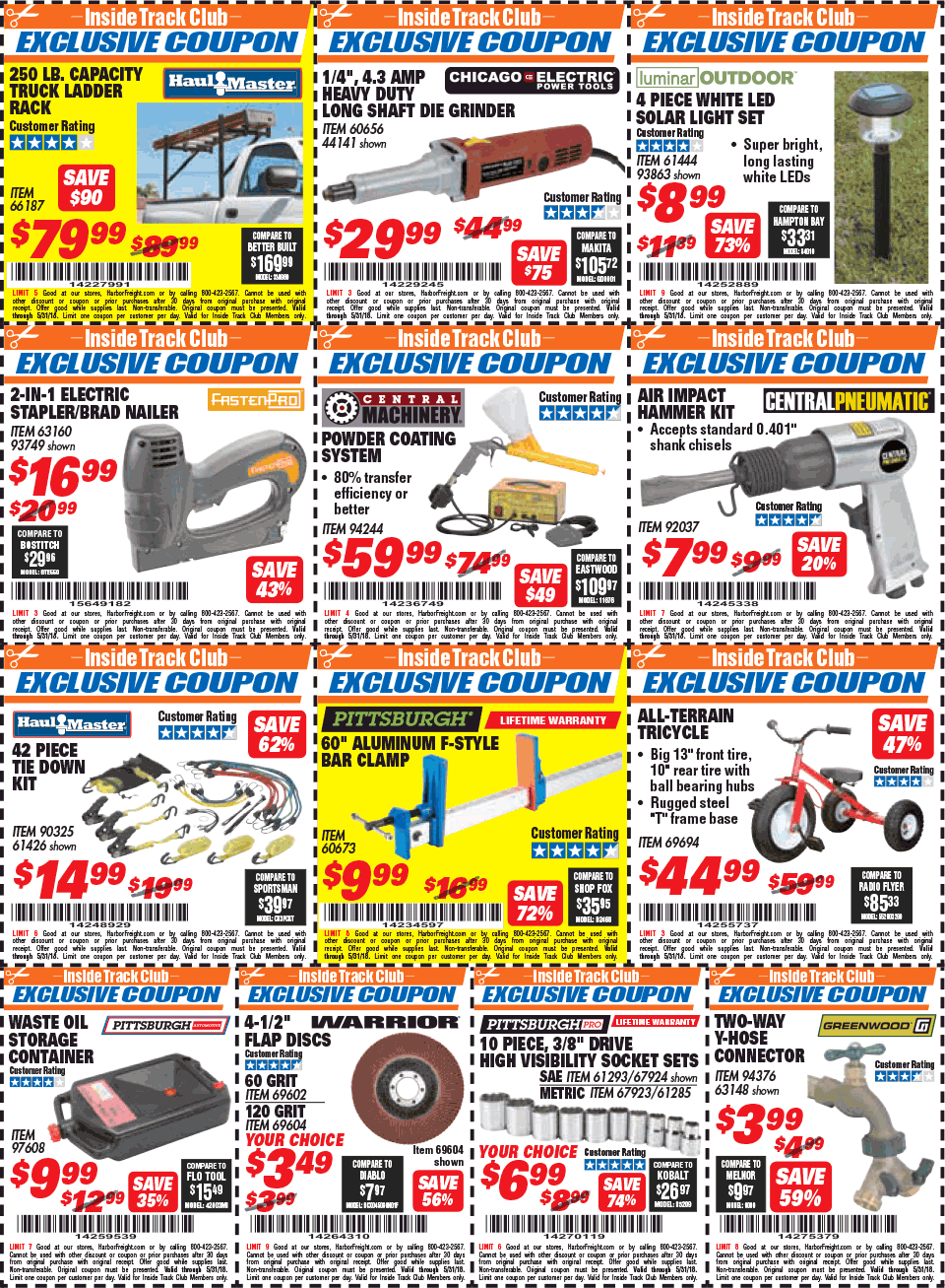 A database of the best coupons for Harbor Freight Tools.