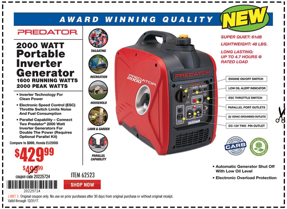 New Items - 2000 Watt Super Quiet Inverter Generator