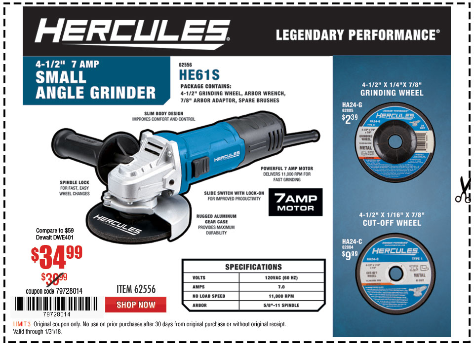 New Items - 4-1/2 in. 7 Amp Small Angle Grinder