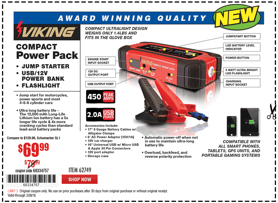 New Items - Lithium Ion Jump Starter and Power Pack