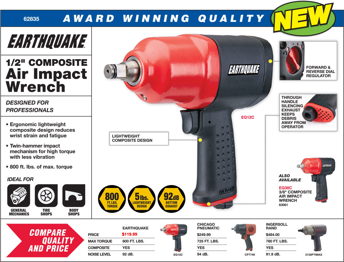 New Items - Earthquake 1/2 in. Composite Air Impact Wrench