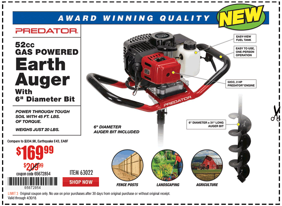 New Items - Gas Powered Earth Auger