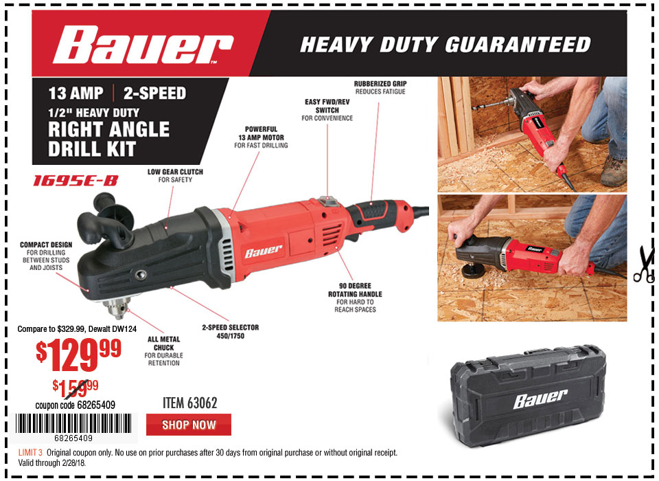 New Items - 13 Amp 2-Speed 1/2 in. Heavy Duty Right Angle Drill Kit