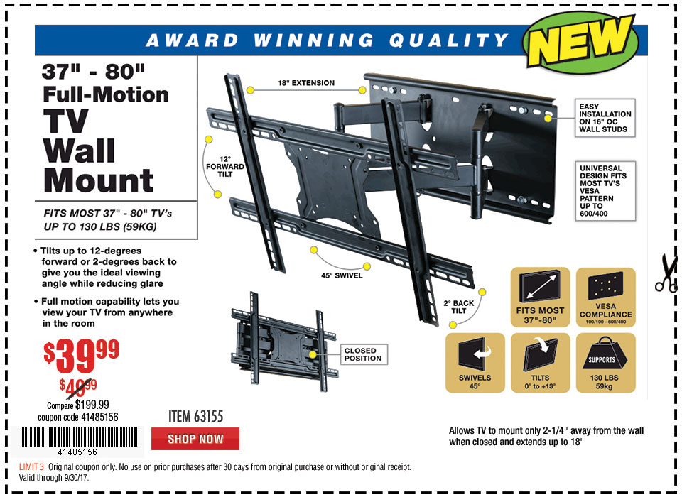 New Items - 37 in. to 80 in. Full-Motion TV Wall Mount