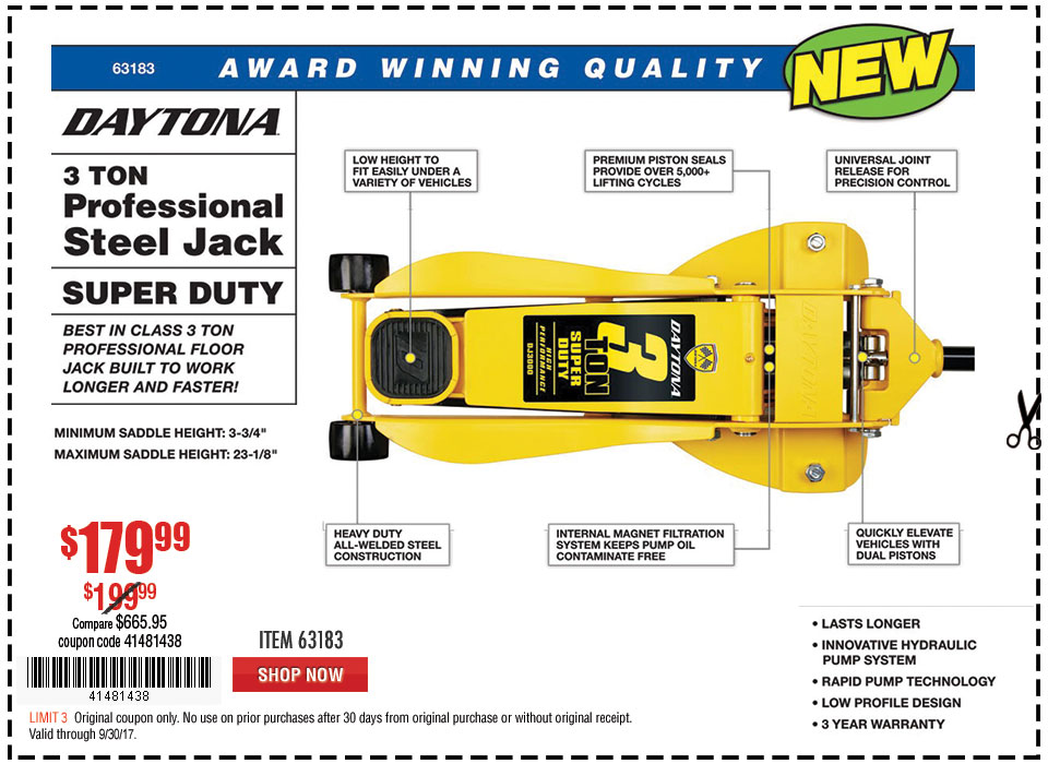 New Items - 3 Ton Daytona Professional Steel Floor Jack - Super Duty