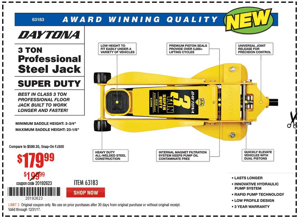 New Items - 3 Ton Daytona Professional Steel Floor Jack - Super Duty
