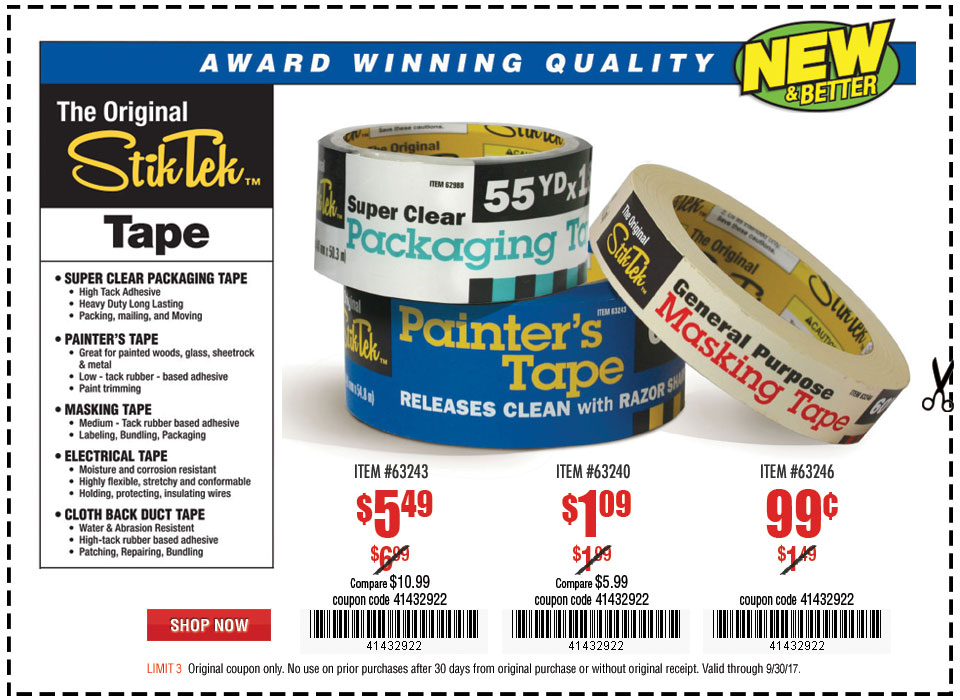 New Items - 60 yds. x 1.88 in. Painter's Tape