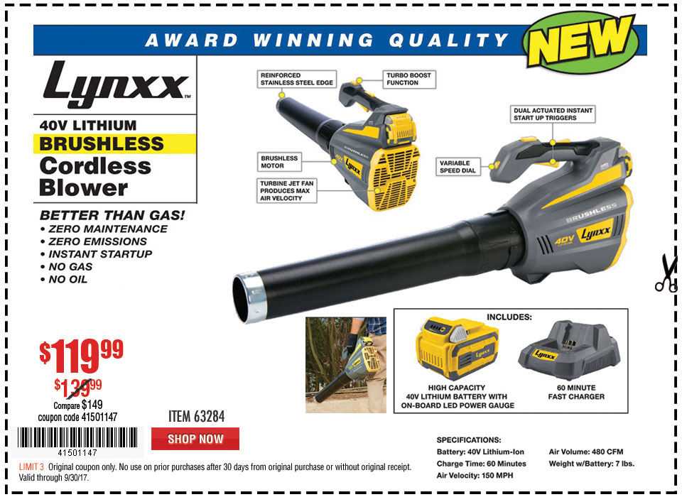 New Items - 40V Lithium Cordless Blower