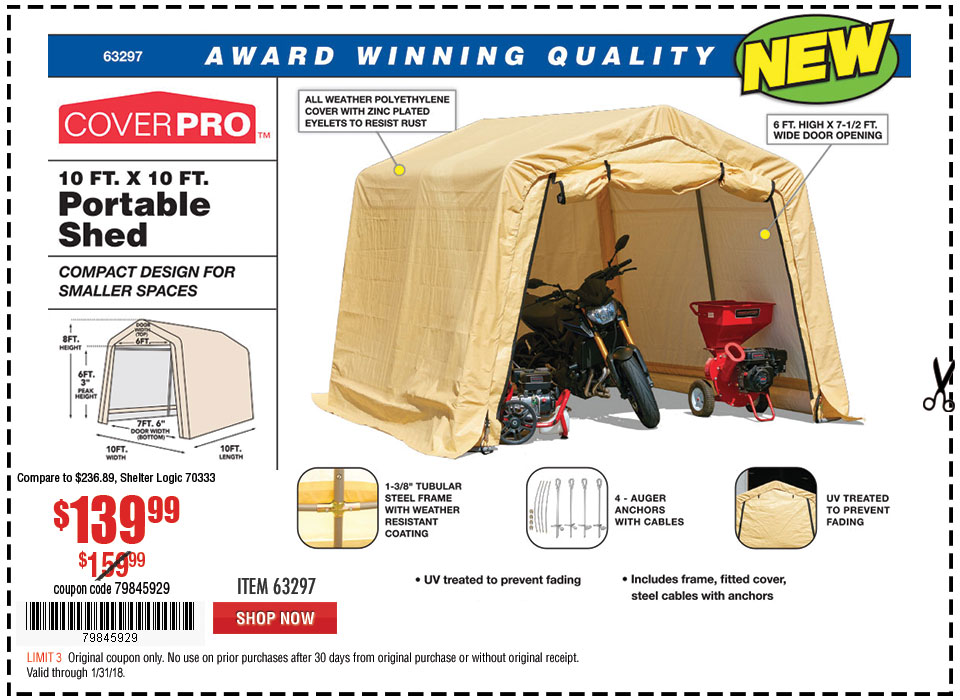 New Items - 10 ft. x 10 ft. Portable Shed