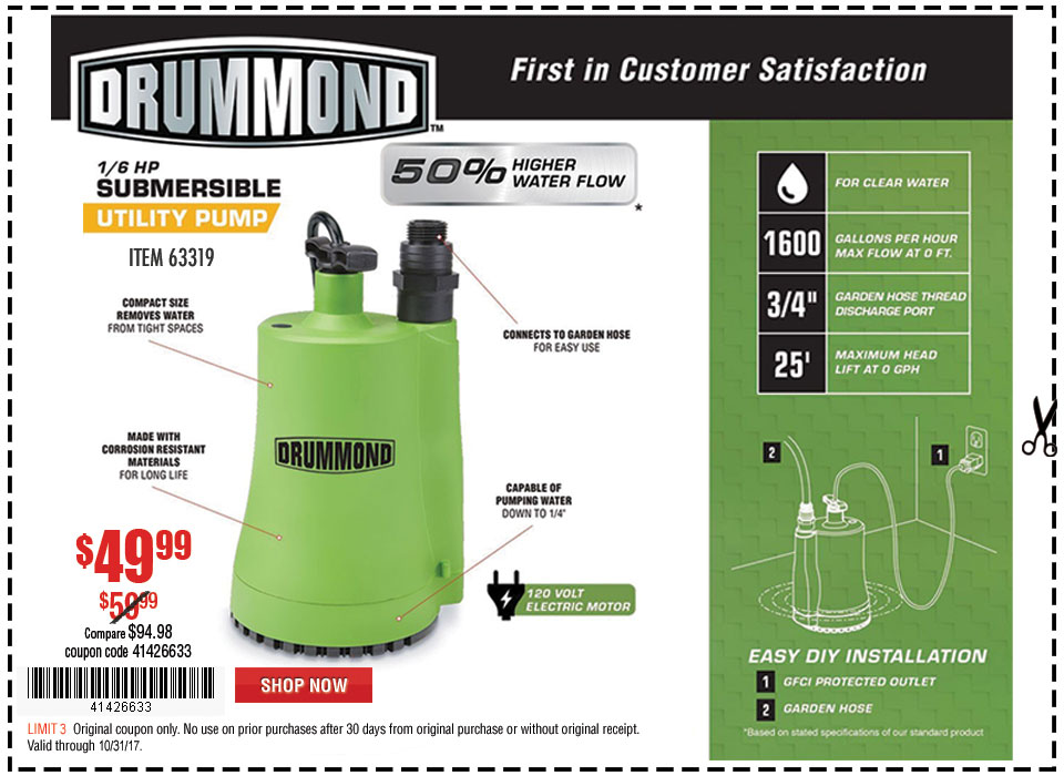 New Items - 1/6 HP Submersible Utility Pump 1600 GPH