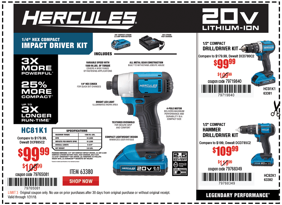 New Items - 20V Lithium Cordless 1/4 in. Hex Compact Impact Driver Kit