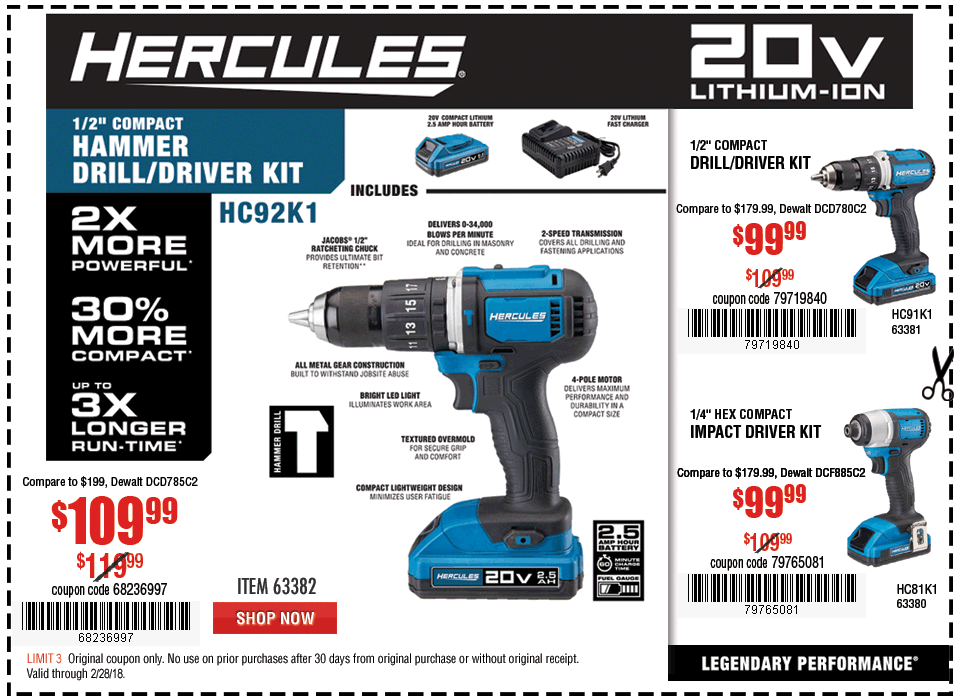 New Items - 20V Lithium Cordless 1/2 In. Compact Hammer Drill/Driver Kit