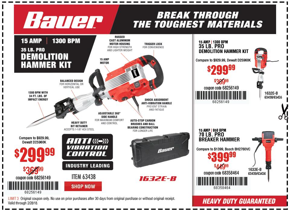 New Items - 15 Amp 35 lb. Pro Demolition Hammer Kit