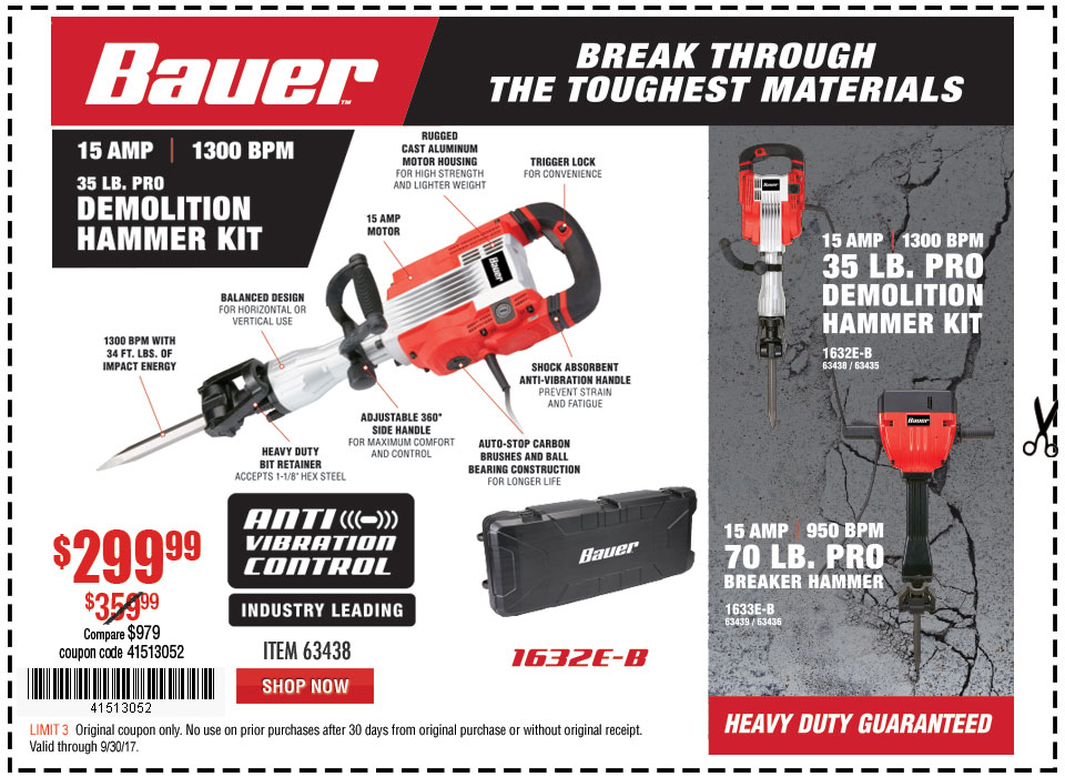 New Items - 15 Amp 35 lb. Pro Demolition Hammer Kit