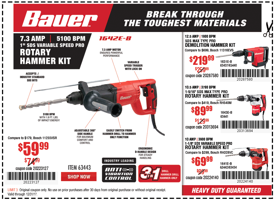 New Items - Variable Speed Pro Rotary Hammer Kit