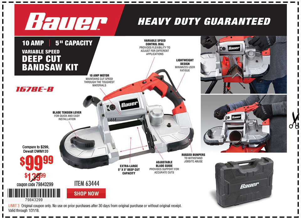 New Items - 10 Amp Deep Cut Variable Speed Band Saw Kit