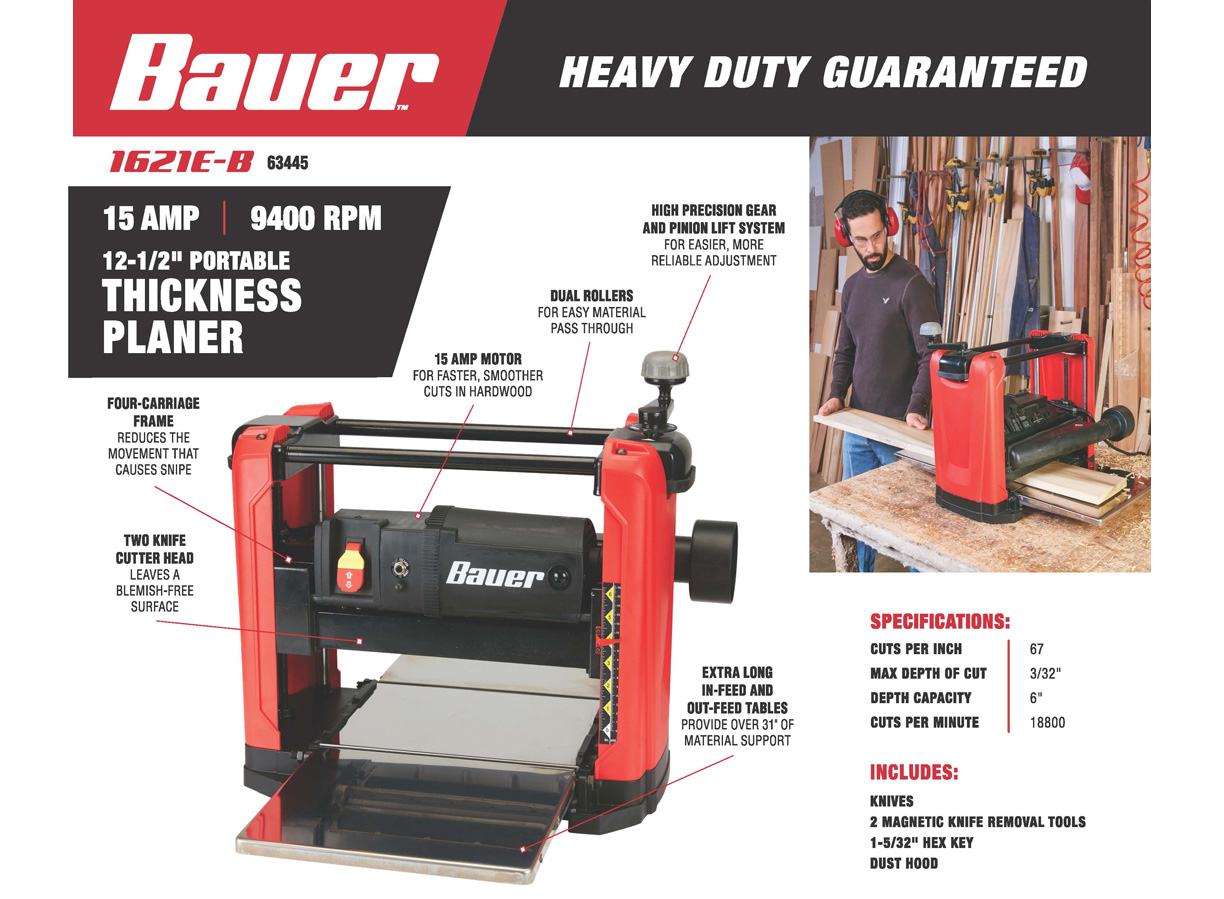 New Items - Bauer 15 amp Thickness Planer