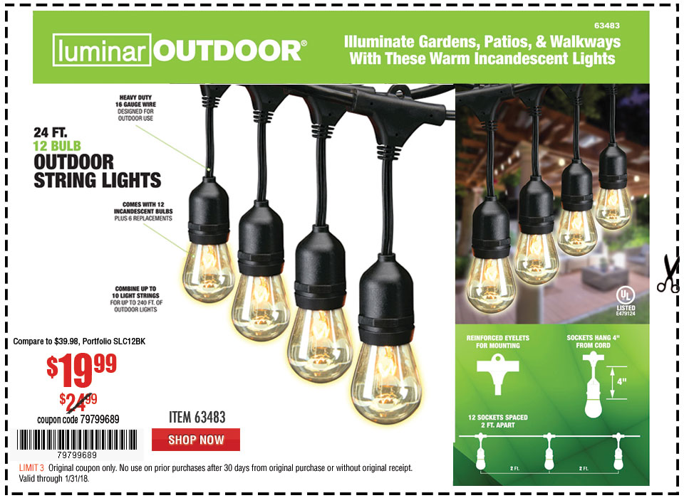 New Items - 24 Ft. 12 Bulb Outdoor String Lights